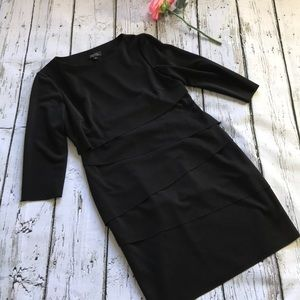 Tahari by Arthur Levine layered black dress.
